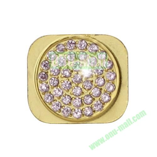 Shiny Rhinestone Inlaid Gold Home Button Key Replacement Spare Part for iPhone 5S (Pink)