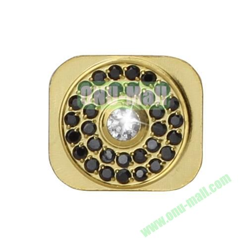 Sparkling Rhinestone Inlaid Gold Home Button Key Replacement Spare Part for iPhone 5S (White+Black)