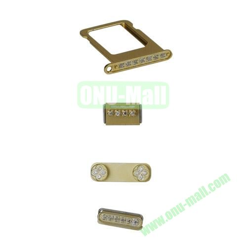 Rhinestone Inlaid Side Buttons with SIM Card Tray and Buttons Spacer Replacement for iPhone 5S (Gold)