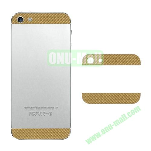 Metal Top and Bottom Cover Replacement for iPhone 5S (Gold  Checks)