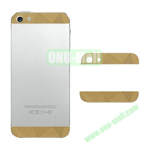 Metal Top and Bottom Cover Replacement for iPhone 5S (Gold  Triangle Shape)