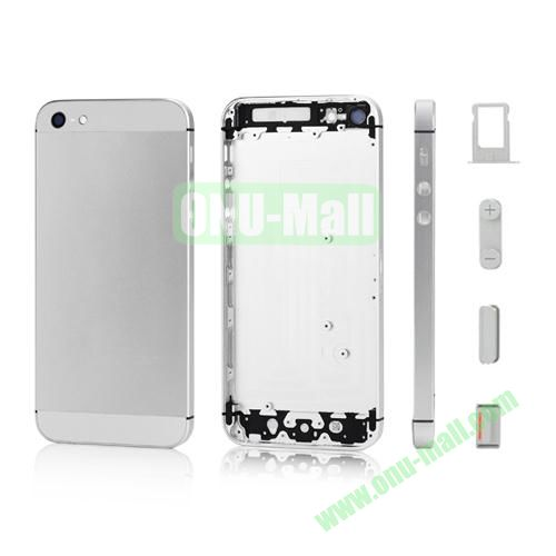 Plated Matte Metal Back Cover Housing Replacement for iPhone 5 with Side Buttons SIM Card Tray (Silver)