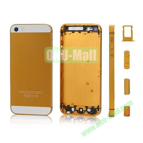 Plated Matte Metal Back Cover Housing Replacement for iPhone 5 with Side Buttons SIM Card Tray (Gold)