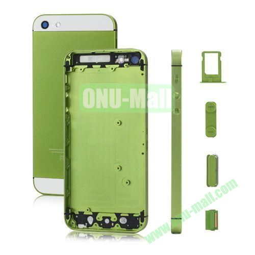 Plated Matte Metal Back Cover Housing Replacement for iPhone 5 with Side Buttons SIM Card Tray (Green)