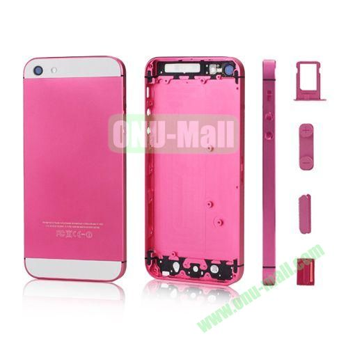 Plated Matte Metal Back Cover Housing Replacement for iPhone 5 with Side Buttons SIM Card Tray (Pink)