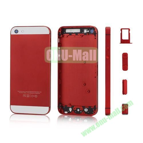 Plated Matte Metal Back Cover Housing Replacement for iPhone 5 with Side Buttons SIM Card Tray (Red)