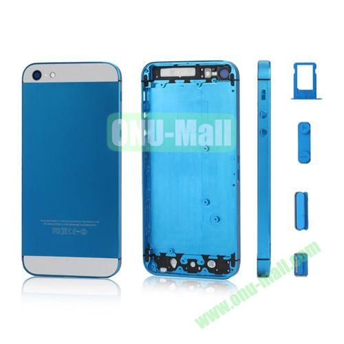 Plated Matte Metal Back Cover Housing Replacement for iPhone 5 with Side Buttons SIM Card Tray (Light Blue)