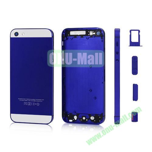 Plated Matte Metal Back Cover Housing Replacement for iPhone 5 with Side Buttons SIM Card Tray (Dark Blue)