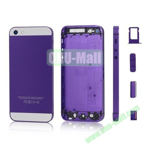 Plated Matte Metal Back Cover Housing Replacement for iPhone 5 with Side Buttons SIM Card Tray (Purple)