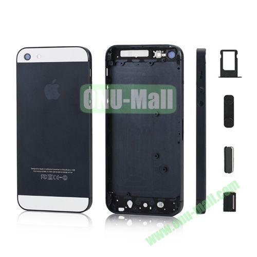 Plated Matte Metal Back Cover Housing Replacement for iPhone 5 with Side Buttons SIM Card Tray (Black)