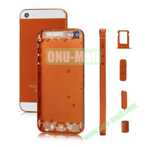 Plated Matte Metal Back Cover Housing Replacement for iPhone 5 with Side Buttons SIM Card Tray (Orange)