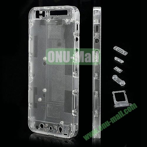 Plastic Back Cover Faceplates Replacement for iPhone 5 with Side Buttons SIM Card Tray (White+Transparent)