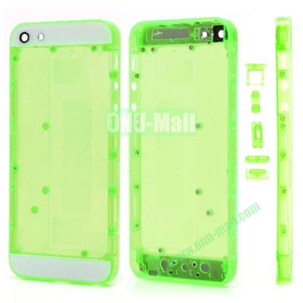 Plastic Back Cover Faceplates Replacement for iPhone 5 with Side Buttons SIM Card Tray (White+Translucent Green)