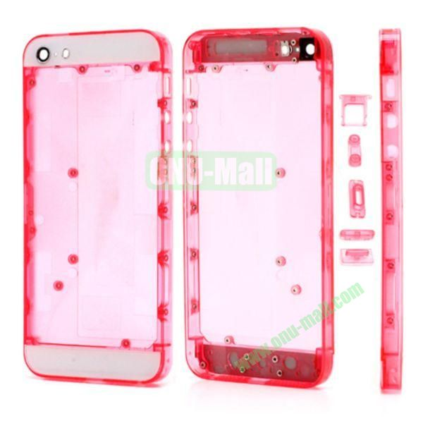 Plastic Back Cover Faceplates Replacement for iPhone 5 with Side Buttons SIM Card Tray (White+Translucent Rose)