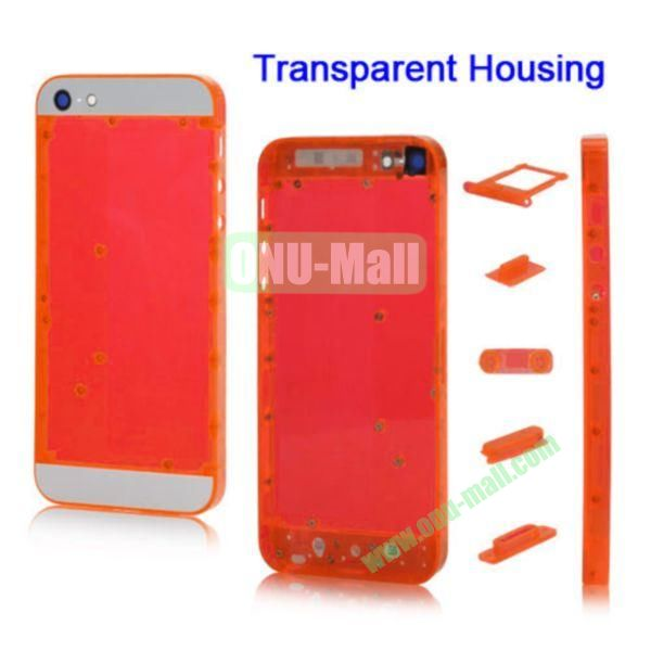 Plastic Back Cover Faceplates Replacement for iPhone 5 with Side Buttons SIM Card Tray (White+Translucent Red)