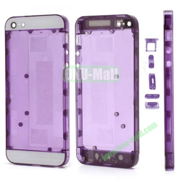 Plastic Back Cover Faceplates Replacement for iPhone 5 with Side Buttons SIM Card Tray (White+Translucent Purple)
