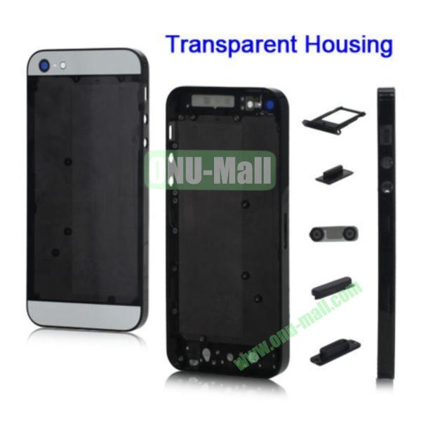 Plastic Back Cover Faceplates Replacement for iPhone 5 with Side Buttons SIM Card Tray (White+Translucent Black)