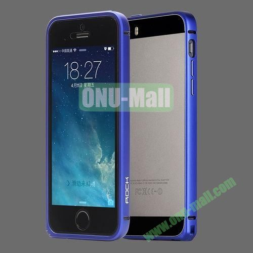 Rock Slim Curved Edges Aluminum Alloy Frame Bumpe for iPhone 5 5S (Blue)