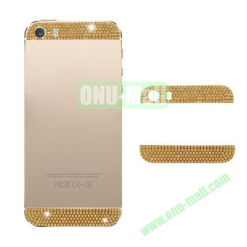 Diamond Top Bottom Glass Cover for iPhone 5S (Gold)
