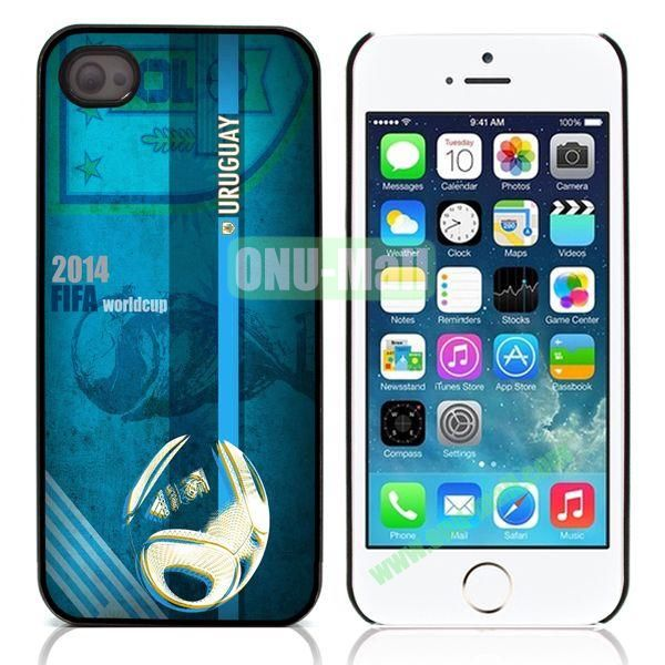 2014 FIFA World Cup Flap Pattern Design Aluminum Coated PC Hard Case for iPhone 55S (Uruguay)
