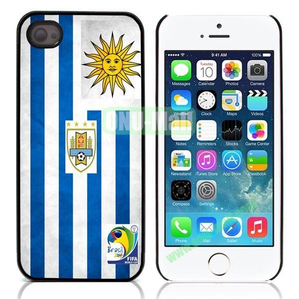 2014 FIFA World Cup Flap Pattern Design Aluminum Coated PC Hard Case for iPhone 55S (Uruguay Flag)