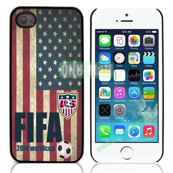 2014 FIFA World Cup Flap Pattern Design Aluminum Coated PC Hard Case for iPhone 55S (USA Flag)