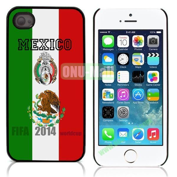 2014 FIFA World Cup Flap Pattern Design Aluminum Coated PC Hard Case for iPhone 55S (Mexico Flag)