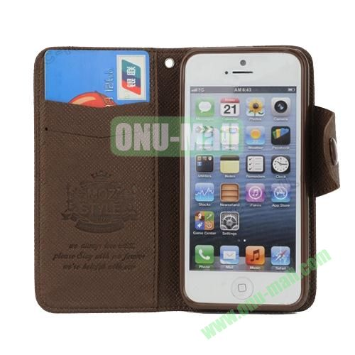 Cross Texture Book Style Flip Magnetic PU Leather Case for iPhone 5S5 with card slots (Brown)