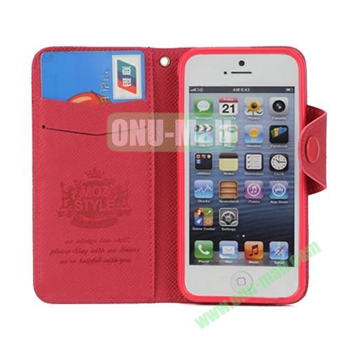 Cross Texture Book Style Flip Magnetic PU Leather Case for iPhone 5S5 with card slots (Red)
