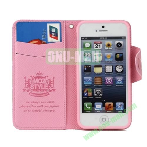 Cross Texture Book Style Flip Magnetic PU Leather Case for iPhone 5S5 with card slots (Pink)