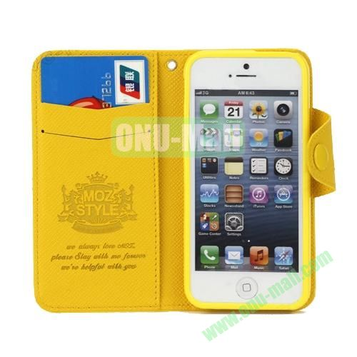 Cross Texture Book Style Flip Magnetic PU Leather Case for iPhone 5S5 with card slots (Yellow)