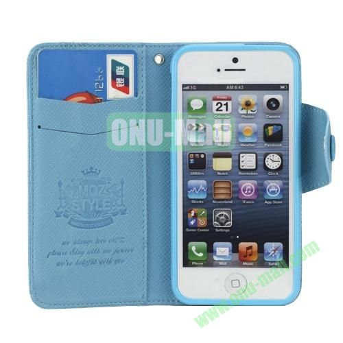 Cross Texture Book Style Flip Magnetic PU Leather Case for iPhone 5S5 with card slots (Blue)