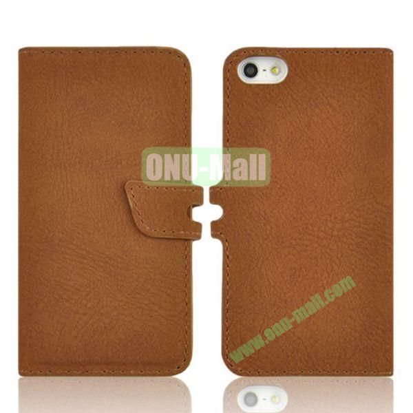 2 in 1 Removable PC + Frosted Leather Case for iPhone 5S  5 with Card Slots (Brown)