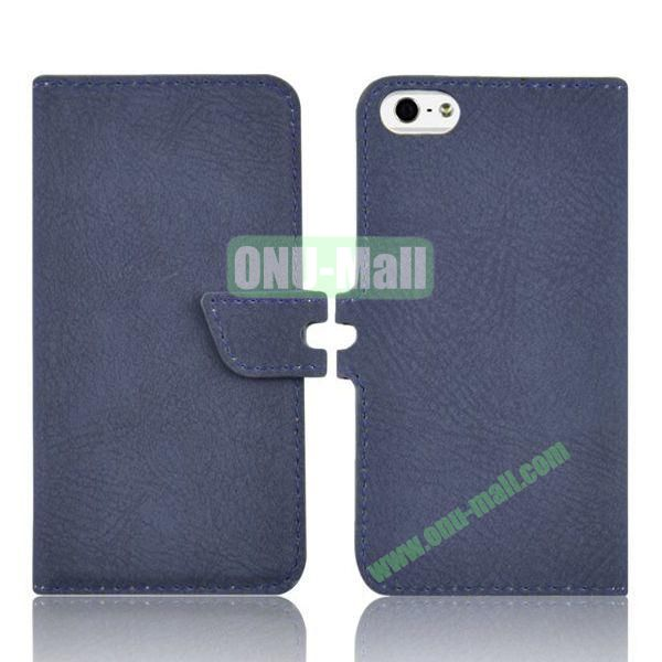 2 in 1 Removable PC + Frosted Leather Case for iPhone 5S  5 with Card Slots (Blue)