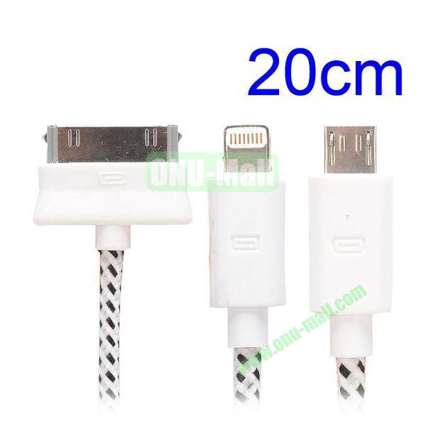 20cm 3 in 1 Woven Design Apple 8 Pin, 30 Pin and Micro USB Charging Cable for iPhone, Samsung, Sony and LG (White)