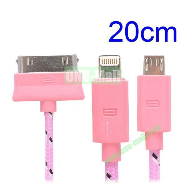 20cm 3 in 1 Woven Design Apple 8 Pin, 30 Pin and Micro USB Charging Cable for iPhone, Samsung, Sony and LG (Rose)