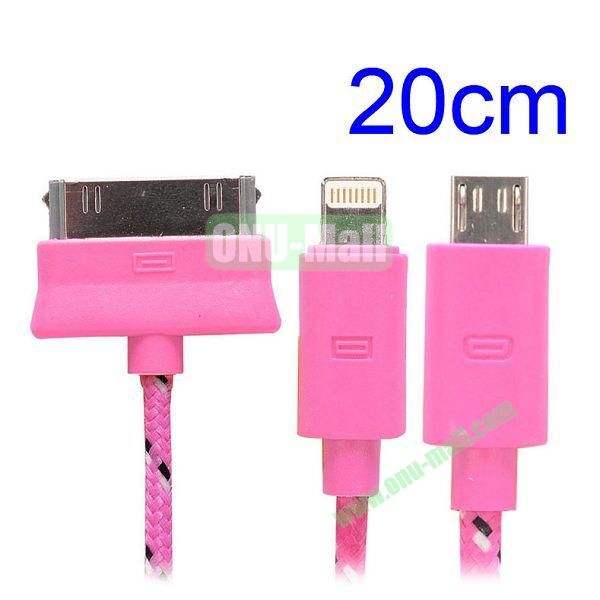 20cm 3 in 1 Woven Design Apple 8 Pin, 30 Pin and Micro USB Charging Cable for iPhone, Samsung, Sony and LG (Pink)