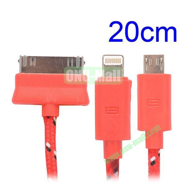 20cm 3 in 1 Woven Design Apple 8 Pin, 30 Pin and Micro USB Charging Cable for iPhone, Samsung, Sony and LG (Red)
