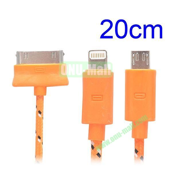 20cm 3 in 1 Woven Design Apple 8 Pin, 30 Pin and Micro USB Charging Cable for iPhone, Samsung, Sony and LG (Orange)