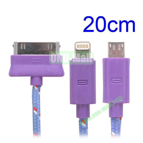 20cm 3 in 1 Woven Design Apple 8 Pin, 30 Pin and Micro USB Charging Cable for iPhone, Samsung, Sony and LG (Purple)