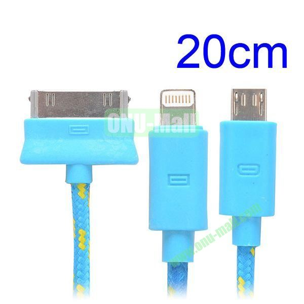 20cm 3 in 1 Woven Design Apple 8 Pin, 30 Pin and Micro USB Charging Cable for iPhone, Samsung, Sony and LG (Blue)