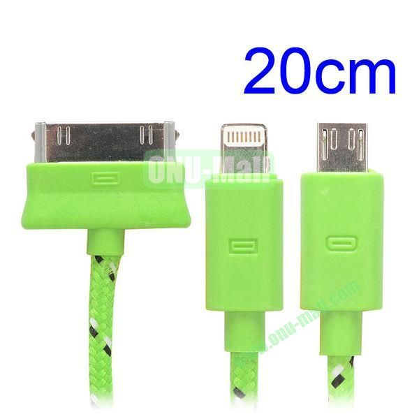 20cm 3 in 1 Woven Design Apple 8 Pin, 30 Pin and Micro USB Charging Cable for iPhone, Samsung, Sony and LG (Green)