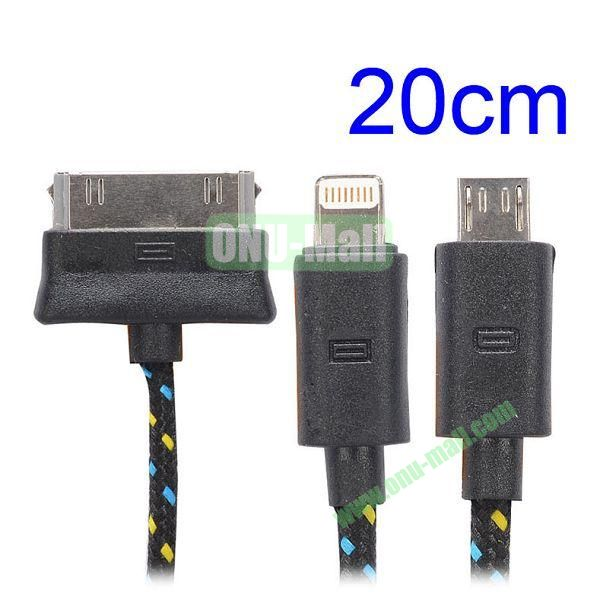 20cm 3 in 1 Woven Design Apple 8 Pin, 30 Pin and Micro USB Charging Cable for iPhone, Samsung, Sony and LG (Black)