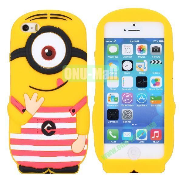 Cute 3D Shaped Single Eye Minions Silicone Case for iPhone 5S  5 (Red)