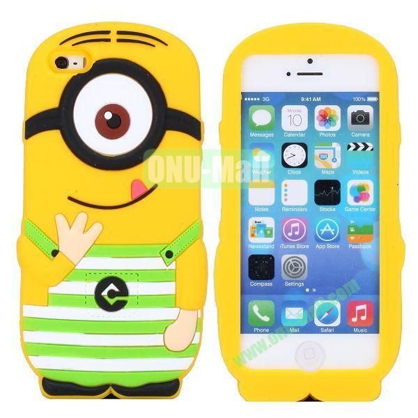 Cute 3D Shaped Single Eye Minions Silicone Case for iPhone 5S  5 (Green)