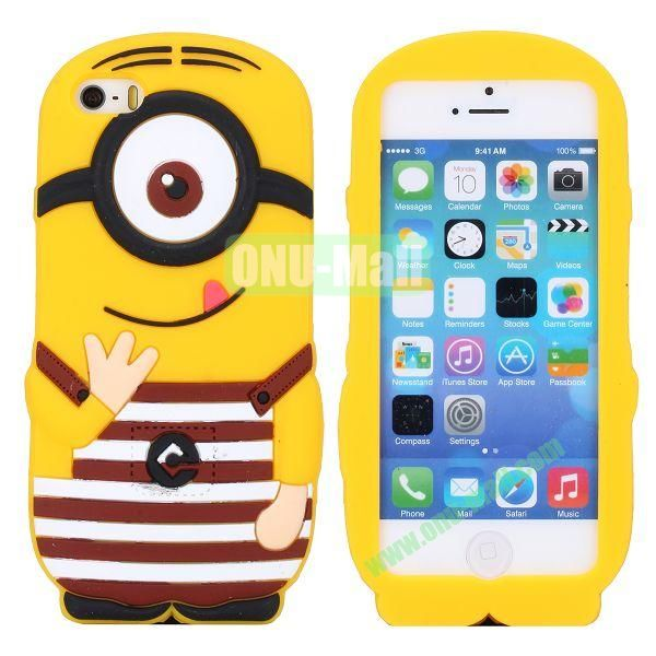 Cute 3D Shaped Single Eye Minions Silicone Case for iPhone 5S  5 (Brown)