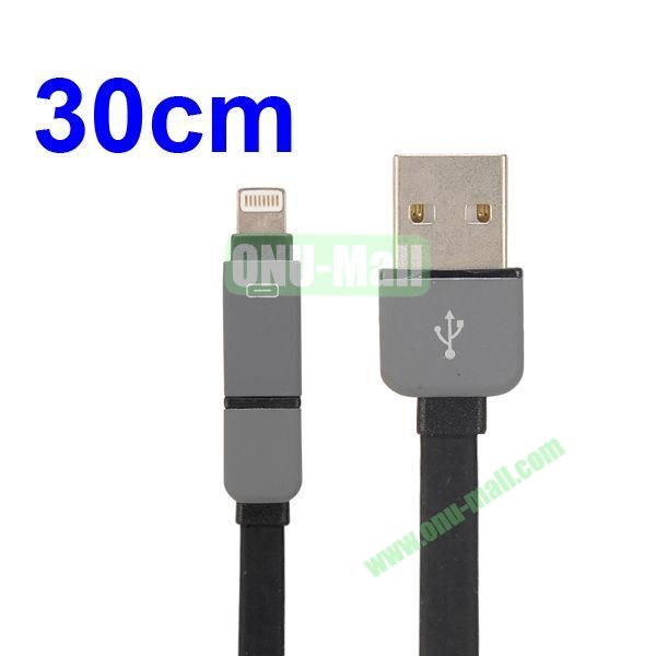 30CM 2 in 1 Micro USB+ 8 Pin USB Cable Multi-functional Micro USB8Pin Data Sync Charging Cable for iPhone, Samsung, HTC, Motorola Ect (Black)