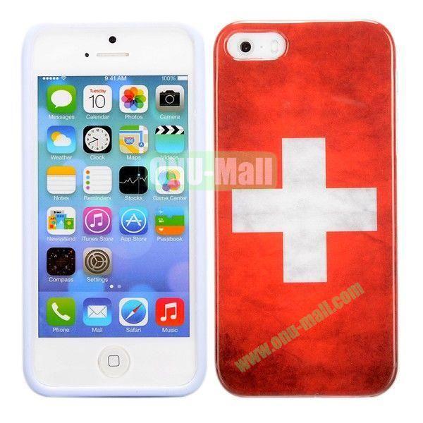 Retro Switzerland Flag Pattern TPU Case for iPhone 5 5S