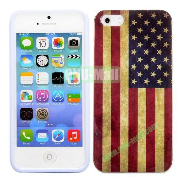 Retro USA Flag Pattern TPU Case for iPhone 5 5S