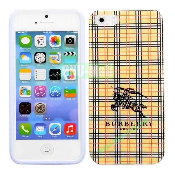 Cloth Grid Pattern TPU Case for iPhone 5 5S